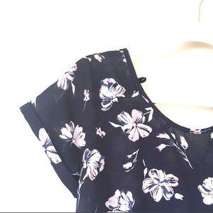 Jolt Tops - Jolt | Navy Floral Peplum Top